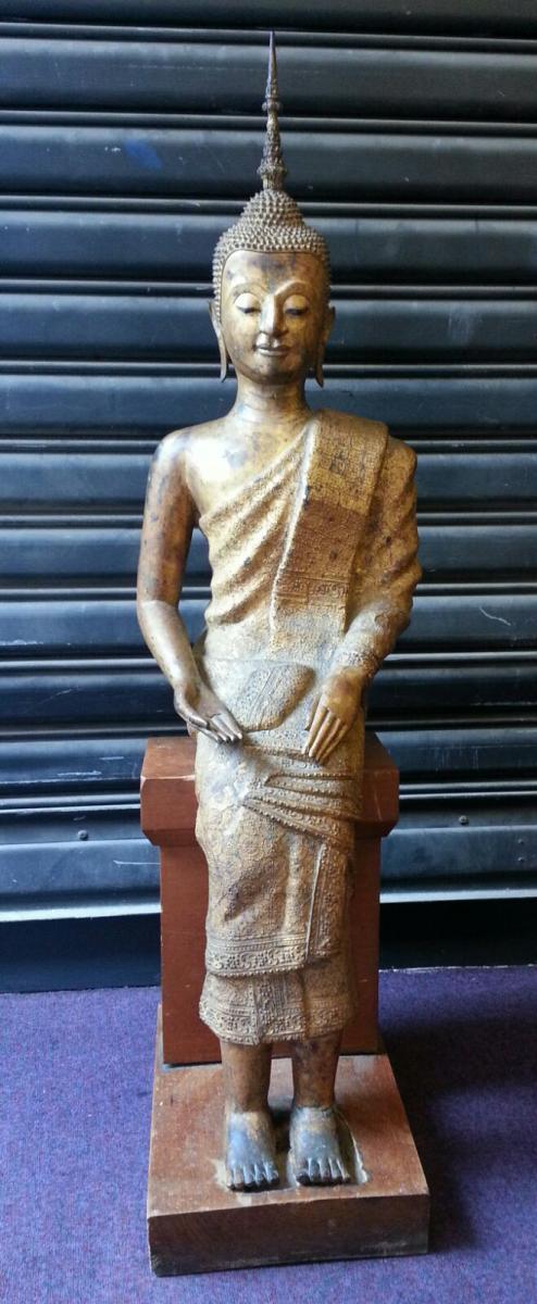 Bouddha En Bronze Doré Laqué