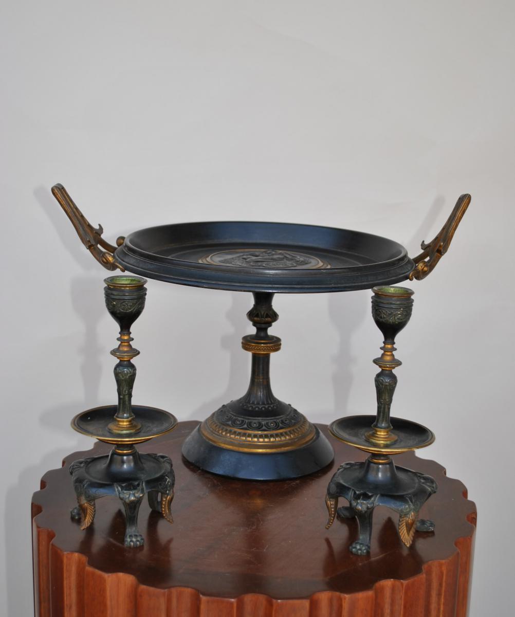 Coupe En Bronze + bougeoirs Napoleon III
