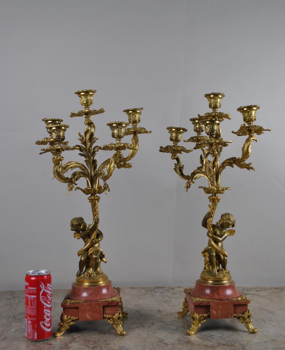 2 Candélabres Bébés En Bronze
