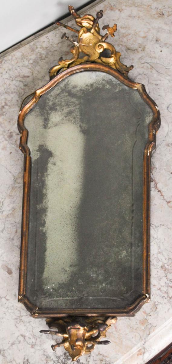 Miroir En Bois Doré, Italie Fin XVIIIème