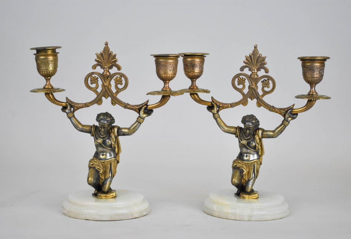 Paire De Candélabres Aux Nubiens, XIXème