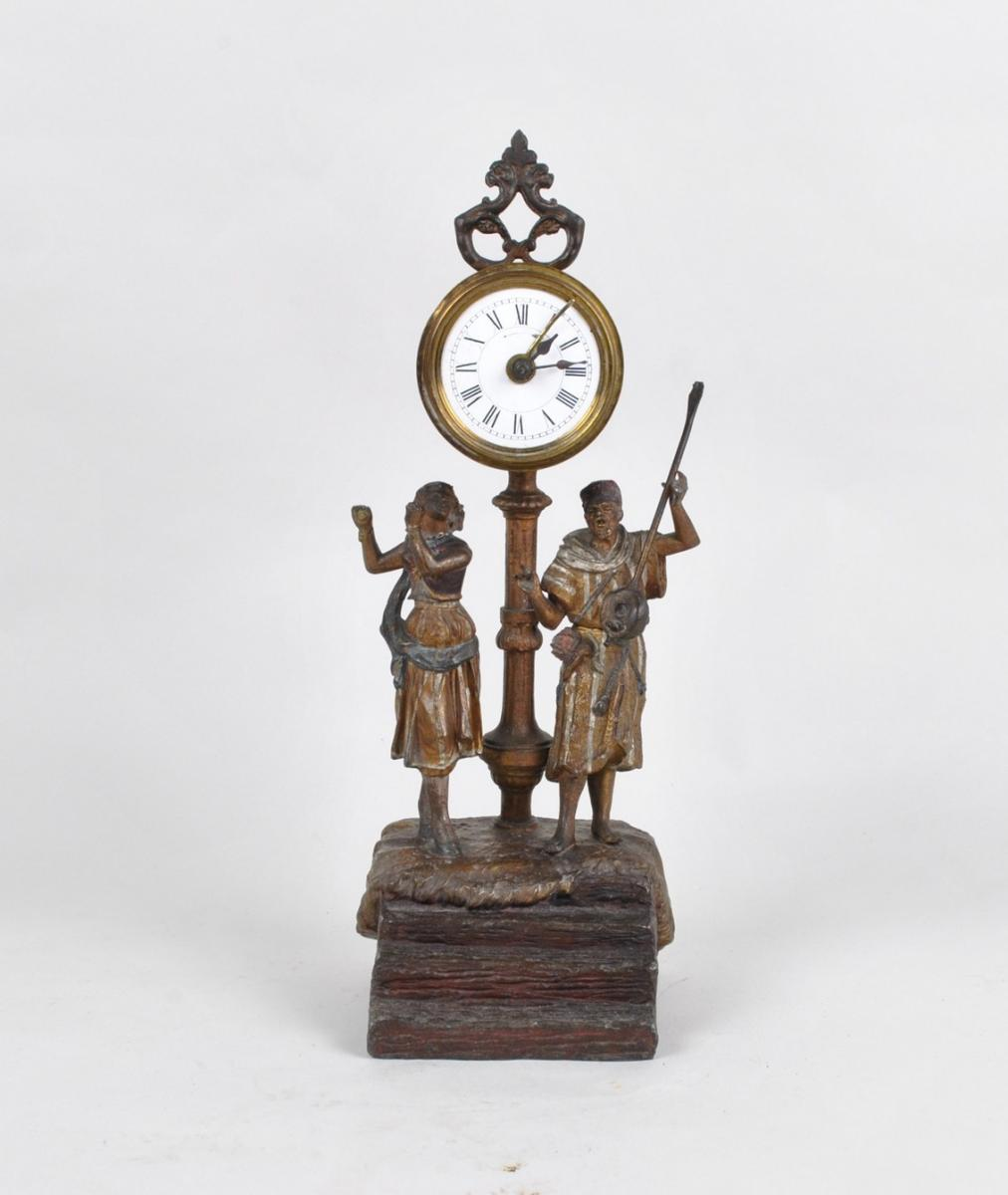 Polychrome Clock With Oriental Musicians, XIXth Century