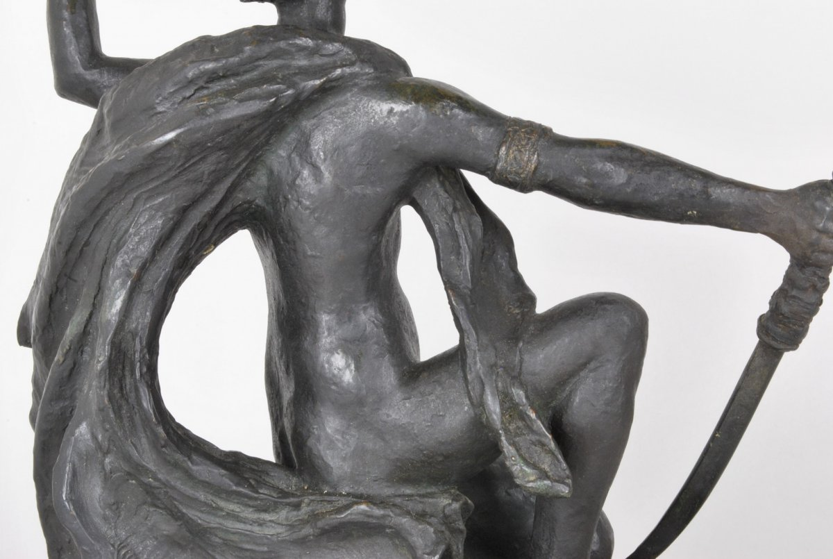 E l'Hoest, Tireuse à l'Arc, Bronze Orientaliste Signé, XIXème Siècle-photo-2