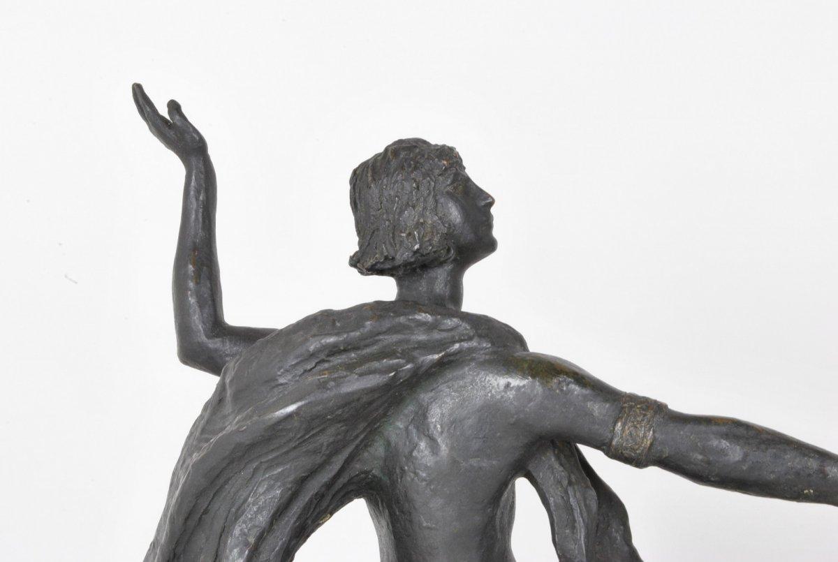 E l'Hoest, Tireuse à l'Arc, Bronze Orientaliste Signé, XIXème Siècle-photo-3