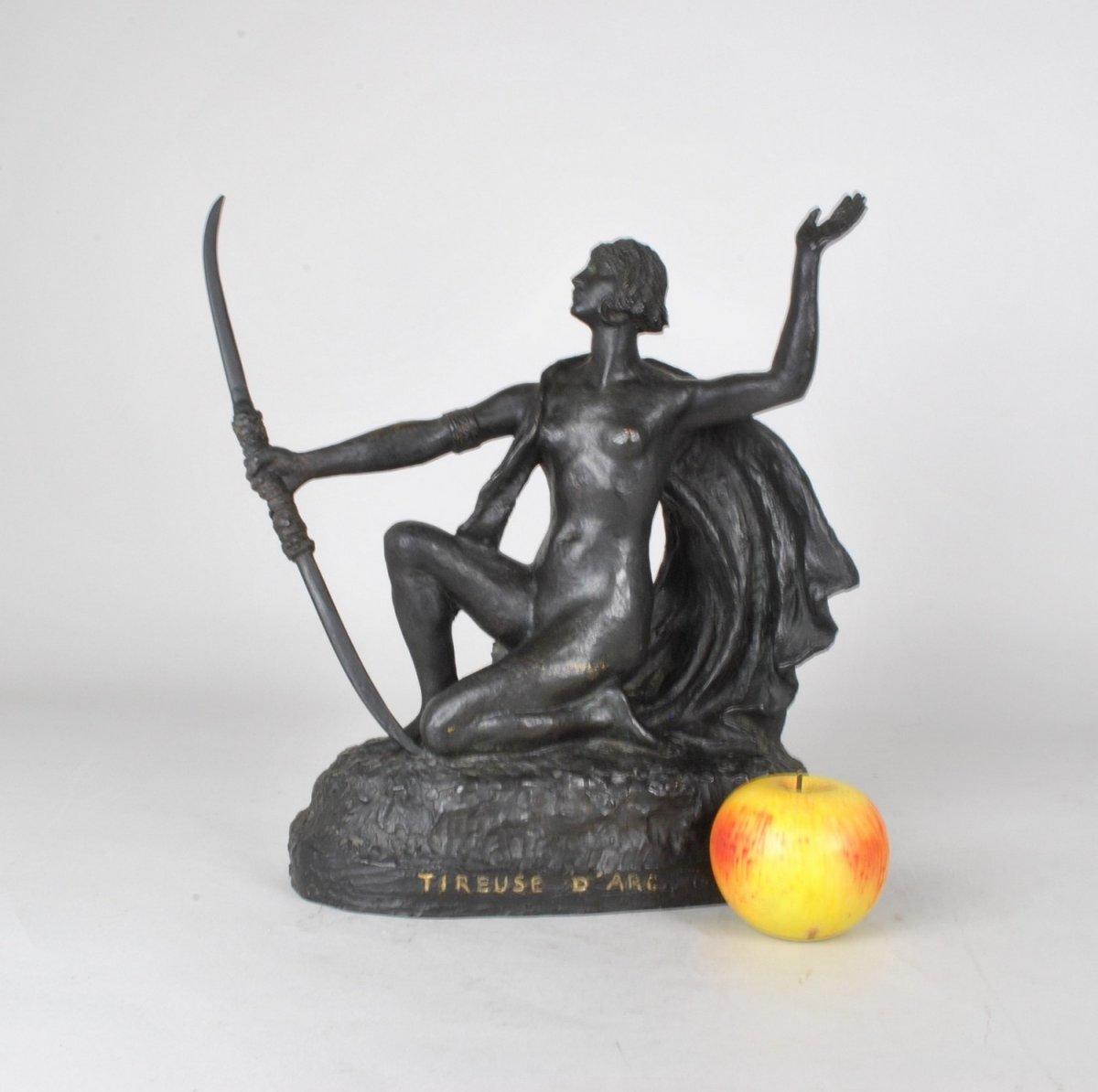 E l'Hoest, Tireuse à l'Arc, Bronze Orientaliste Signé, XIXème Siècle-photo-4