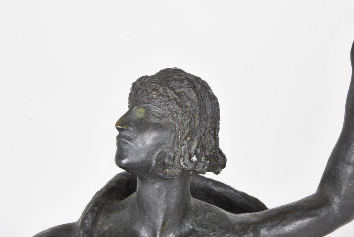 E l'Hoest, Tireuse à l'Arc, Bronze Orientaliste Signé, XIXème Siècle-photo-7