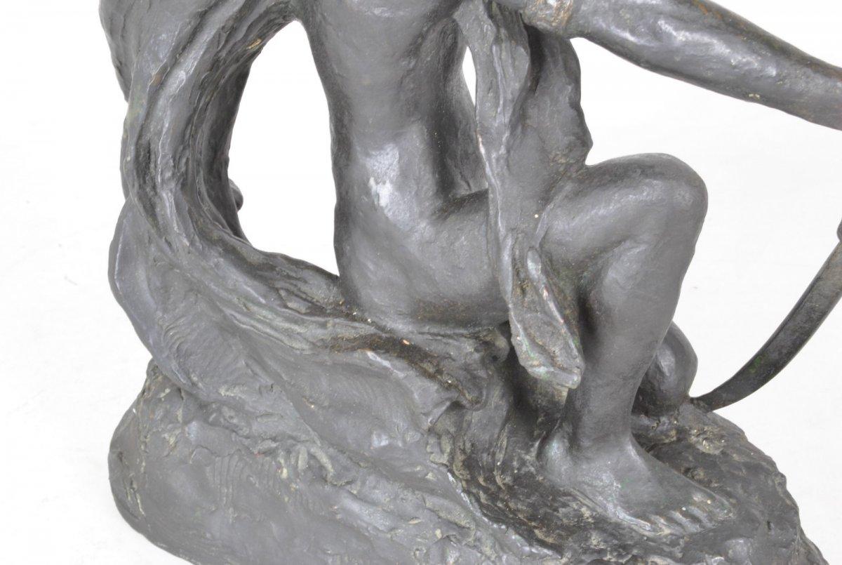 E l'Hoest, Tireuse à l'Arc, Bronze Orientaliste Signé, XIXème Siècle-photo-8