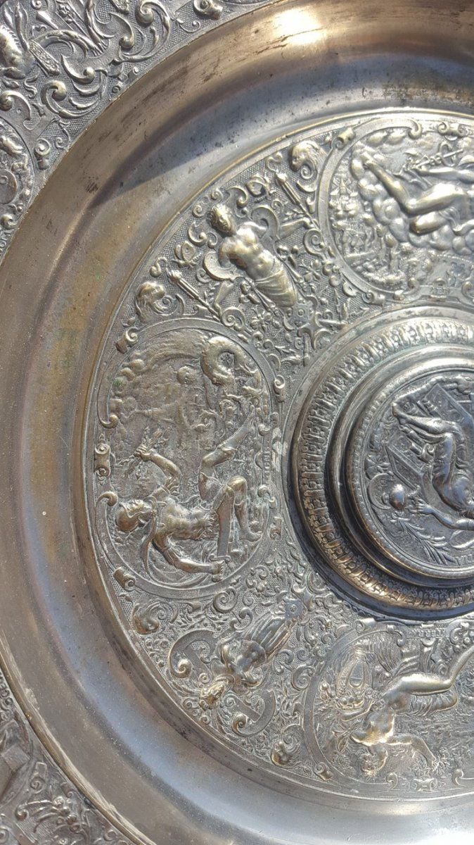 """""""La tempérance"""" Aiguière Et Son Bassin En Bronze Argenté, d'après François Briot, XIXème Siècle-photo-4"""