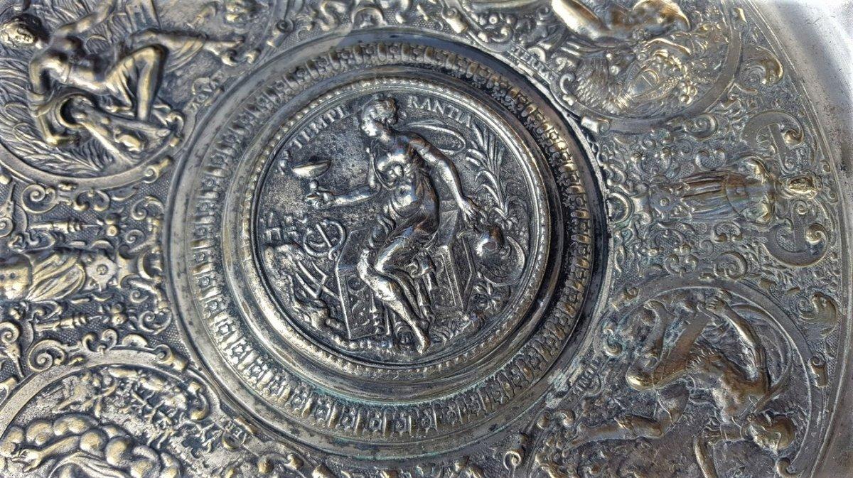 """""""La tempérance"""" Aiguière Et Son Bassin En Bronze Argenté, d'après François Briot, XIXème Siècle-photo-2"""