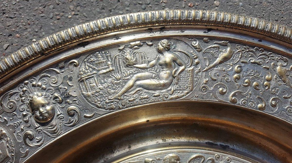 """""""La tempérance"""" Aiguière Et Son Bassin En Bronze Argenté, d'après François Briot, XIXème Siècle-photo-5"""