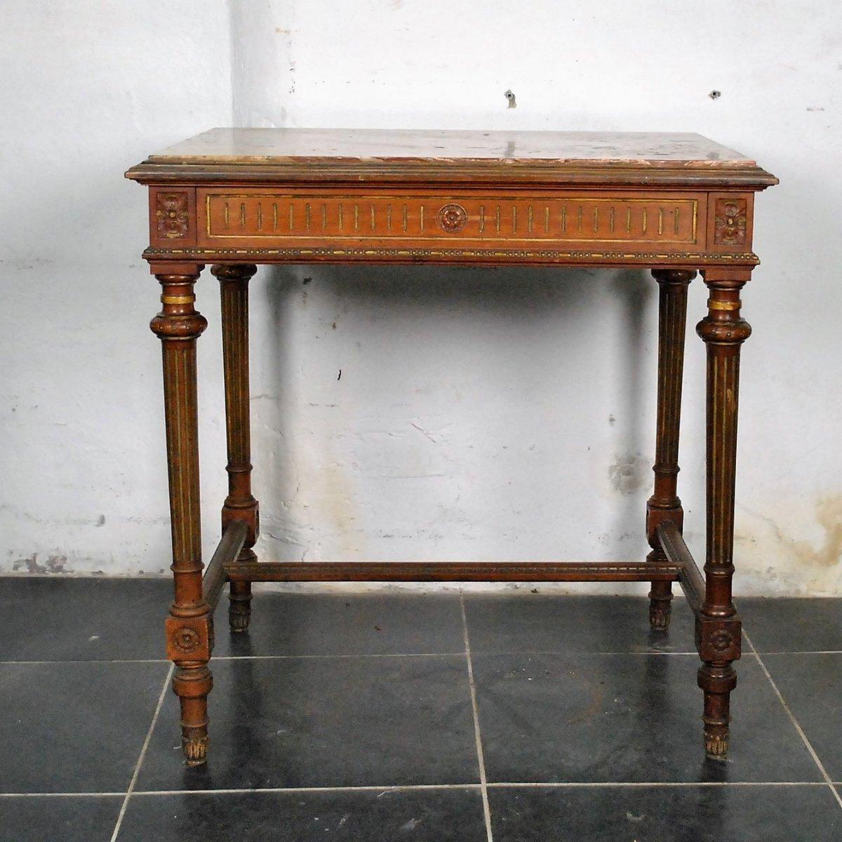 Table De Centre En Noyer, Style Louis XVI, époque Fin XIXème Siècle
