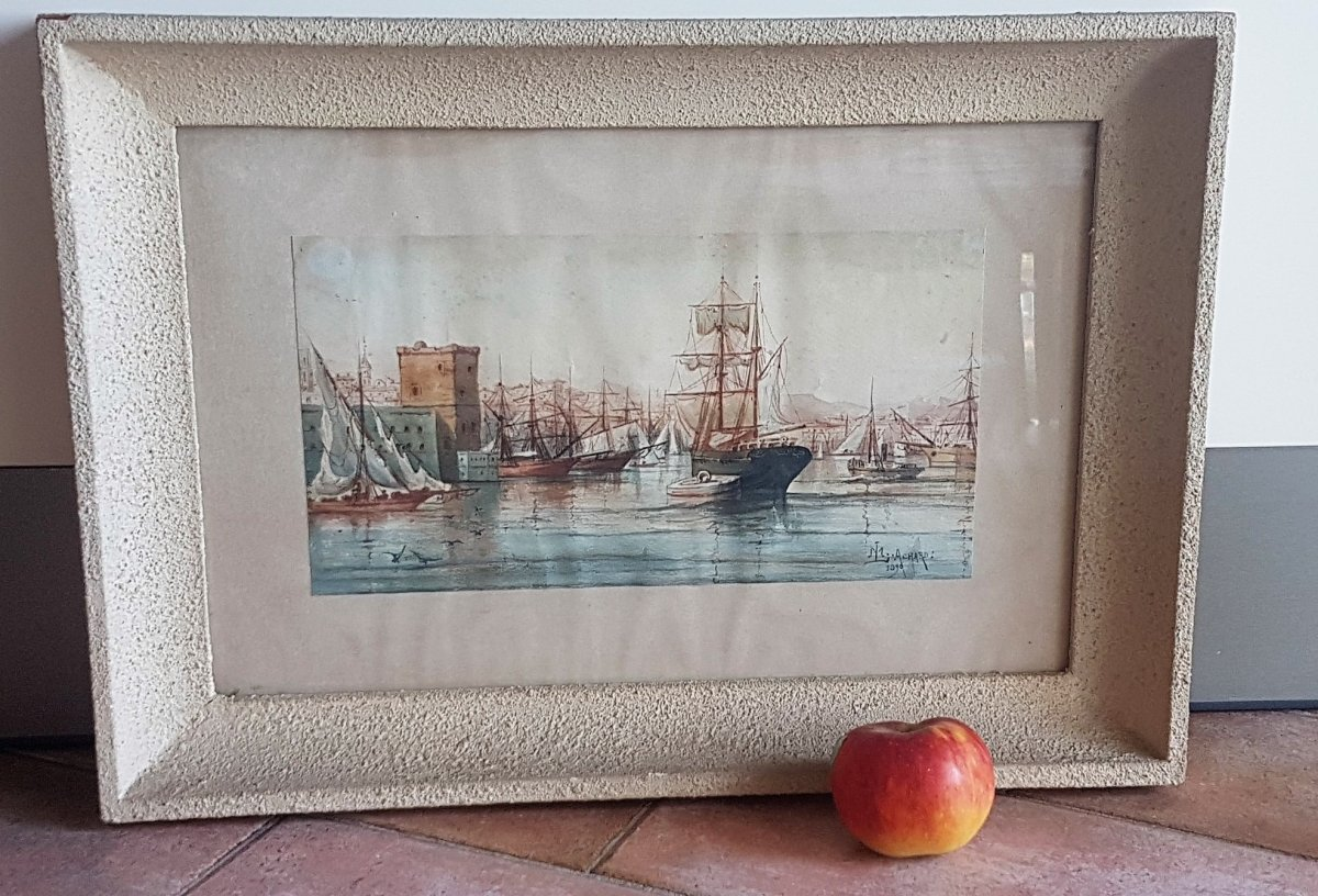 M Achard, Port De Marseille - Fort Saint Jean, Watercolor Signed XIXth Century-photo-2