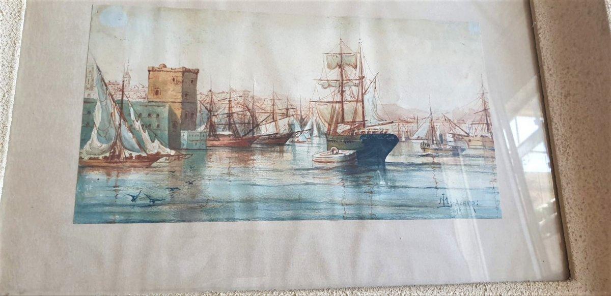 M Achard, Port De Marseille - Fort Saint Jean, Watercolor Signed XIXth Century-photo-3