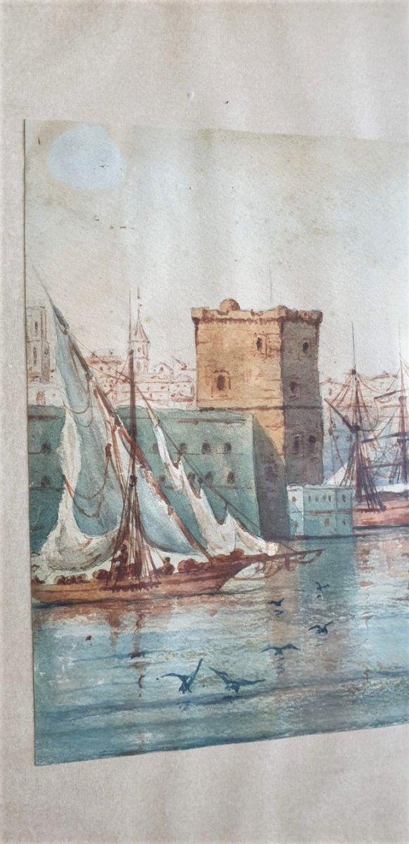 M Achard, Port De Marseille - Fort Saint Jean, Watercolor Signed XIXth Century-photo-4
