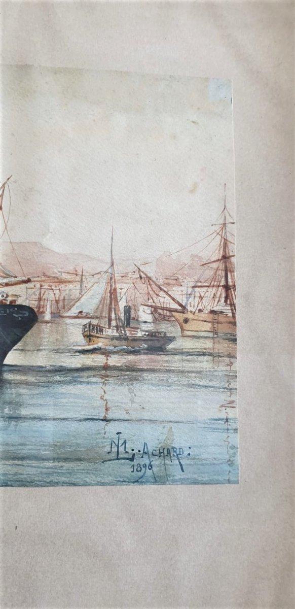 M Achard, Port De Marseille - Fort Saint Jean, Watercolor Signed XIXth Century-photo-5