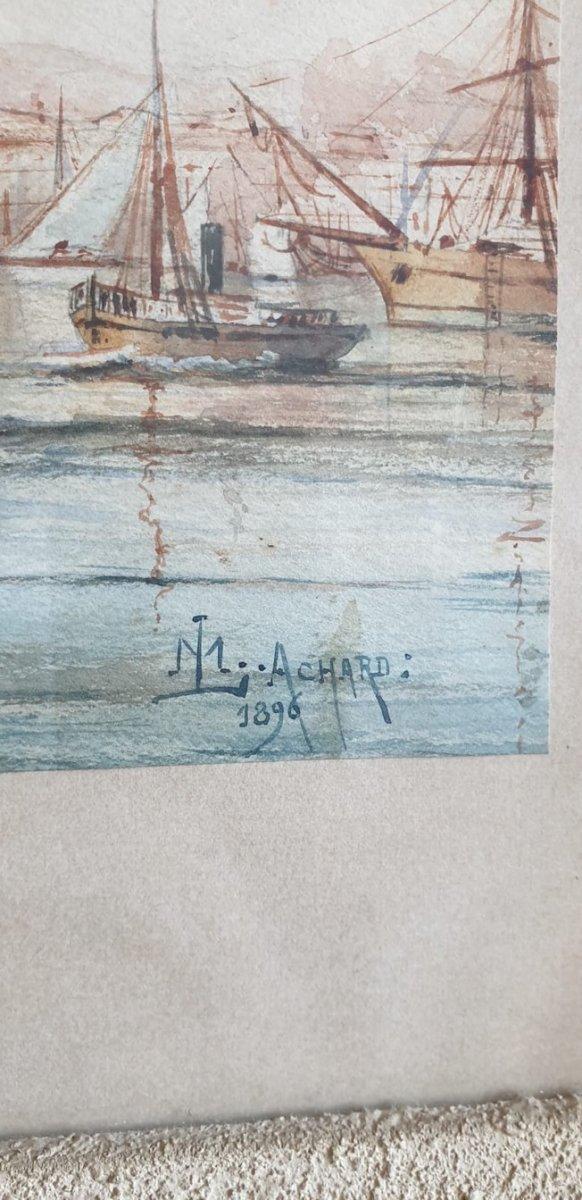 M Achard, Port De Marseille - Fort Saint Jean, Watercolor Signed XIXth Century-photo-8