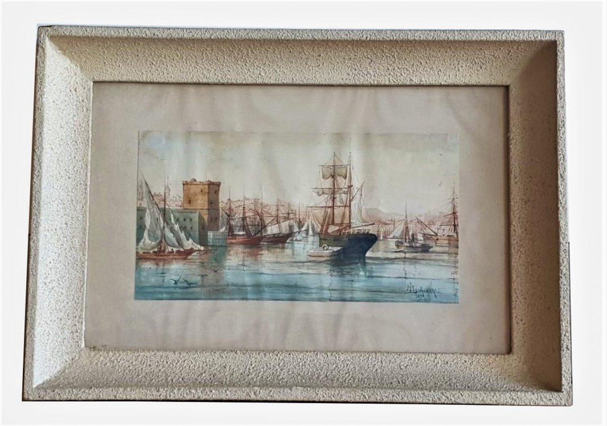 M Achard, Port De Marseille - Fort Saint Jean, Watercolor Signed XIXth Century