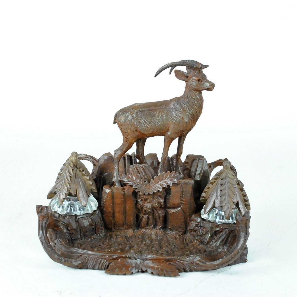 Chamois Inkwell, Carved Wood, Black Forest, 19th Century