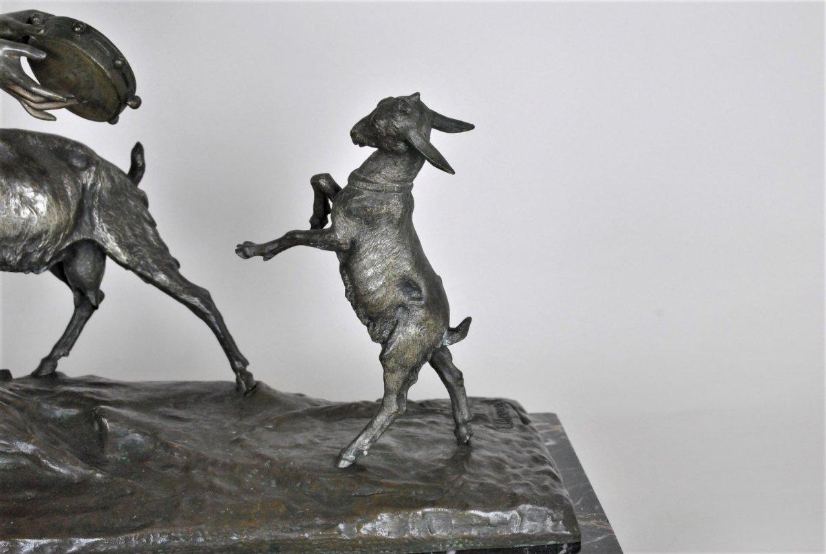 Drouot, Grand Bronze Orientaliste Femme à La Chèvre, Fin XIXème Siècle-photo-3