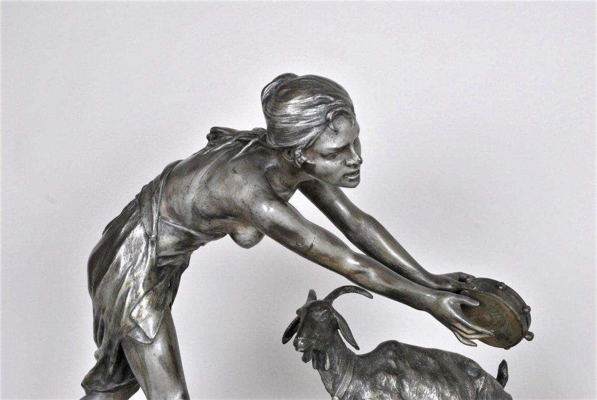 Drouot, Grand Bronze Orientaliste Femme à La Chèvre, Fin XIXème Siècle-photo-4