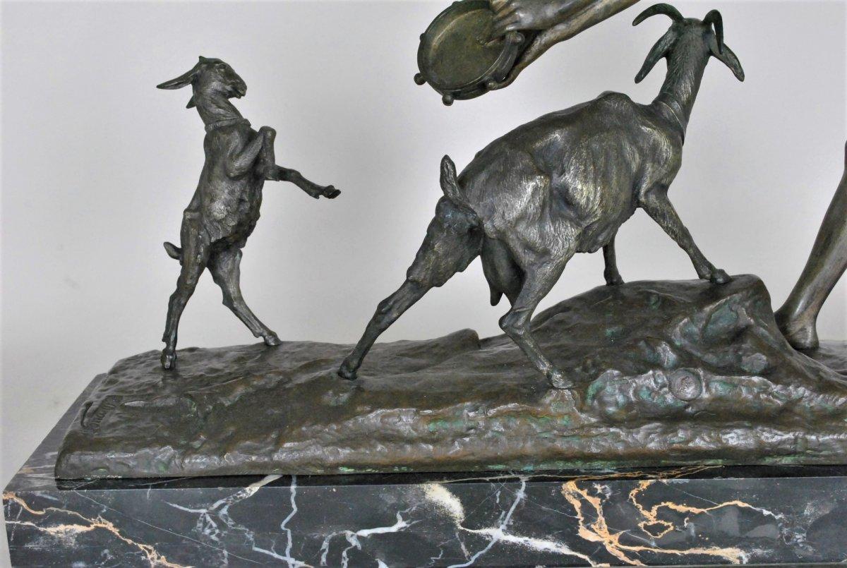 Drouot, Grand Bronze Orientaliste Femme à La Chèvre, Fin XIXème Siècle-photo-8