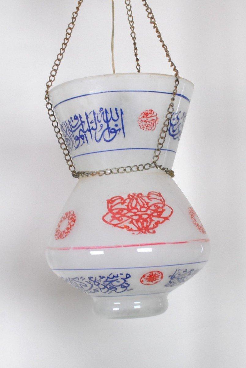 Paire De Lampes De Mosquée En Verre Peint, Début XXème Siècle-photo-2