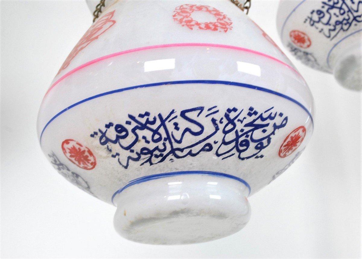 Paire De Lampes De Mosquée En Verre Peint, Début XXème Siècle-photo-3