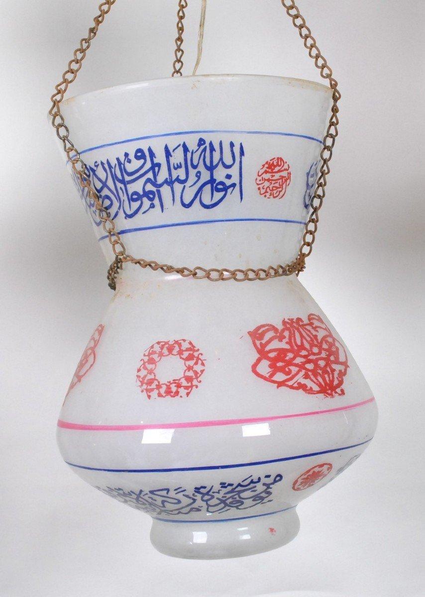 Paire De Lampes De Mosquée En Verre Peint, Début XXème Siècle-photo-5