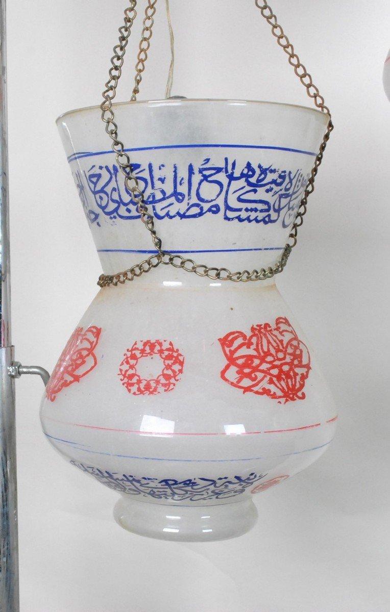 Paire De Lampes De Mosquée En Verre Peint, Début XXème Siècle-photo-6