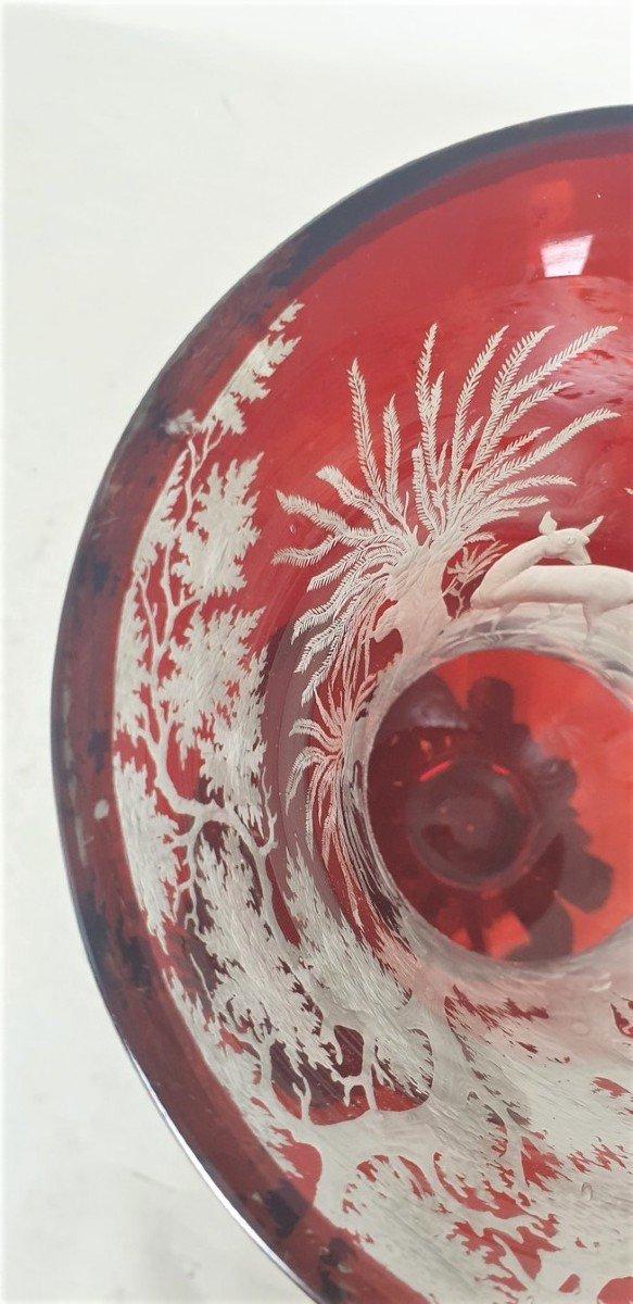 Grand Drageoir En Cristal De Bohème, Décor De Cerfs, Fin XIXème Début XXème Siècle-photo-1