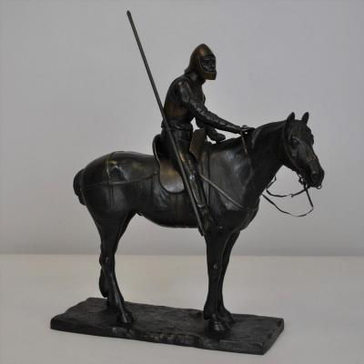 A V Strantz, Chevalier De La Reconquista, Bronze Signé, Fin XIXème