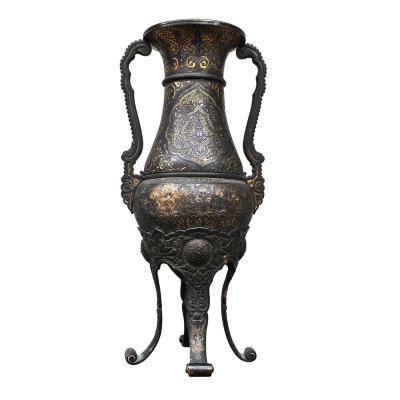 Vase damasquinage Dans Le Goût Zuloaga, France 19eme siècle