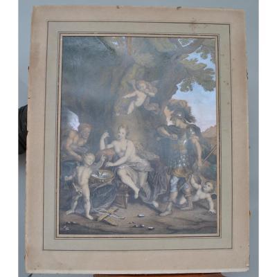 Dessin Vénus Et Vulcain, école Française XIXème