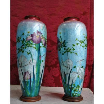 Paire De Vases Japon Ginbari, Fin XIXème,