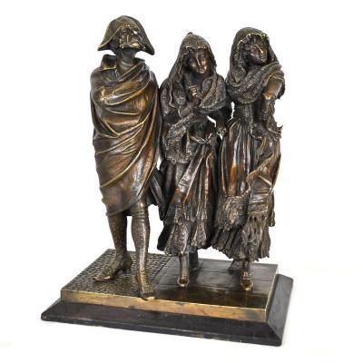 Groupe De Personnages Elégants En Bronze, A Pandiani, XIXème