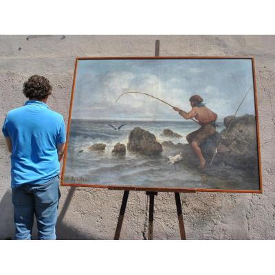 J Suchet, Oil On Canvas, Fisherman On The Coast Marseille XIXth