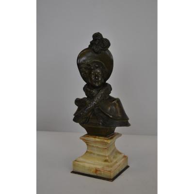C Massé, élégante Femme Au Chapeau, Bronze Signé, XIXème Siècle