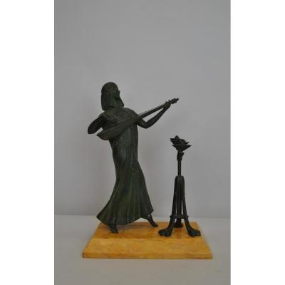 Obiols, Musicienne Egyptienne, Bronze Signé, Art Déco, XXème Siècle