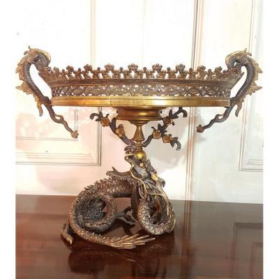 Coupe Au Dragon Dans Le  Goût De Eugène Cornu En Bronze Et Onyx,époque Napoléon III