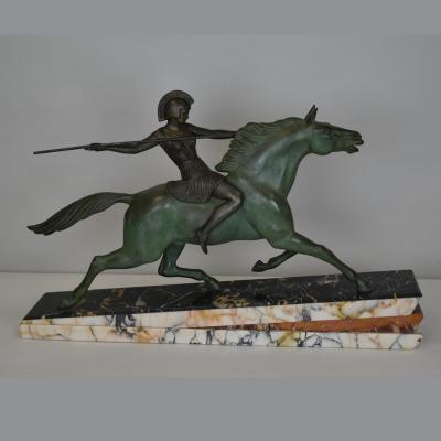 Melo, Amazone à cheval, signé, Art Déco, XXème Siècle