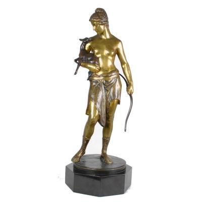 G A Janensch, Diane En Bronze, Signé, fin XIXème Siècle