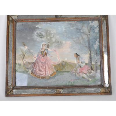Reverse Glass-painted, Pastoral Scene, 18th Century