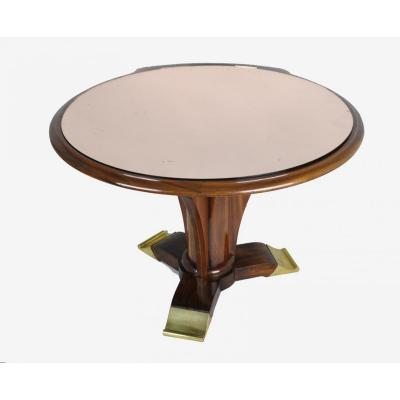 Coffe Table In Mahogany, Jules Leleu, Art Deco, 20th Century