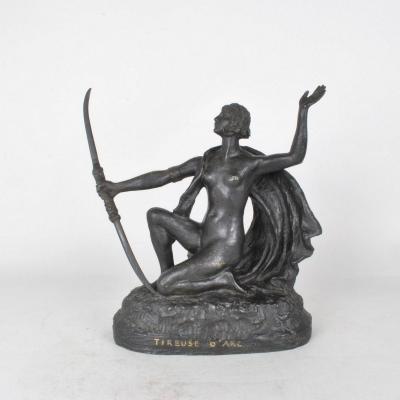 E l'Hoest, Tireuse à l'Arc, Bronze Orientaliste Signé, XIXème Siècle