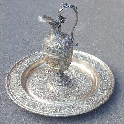 """""""La tempérance"""" Aiguière Et Son Bassin En Bronze Argenté, d'après François Briot, XIXème Siècle"""