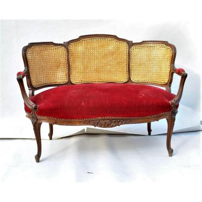 Bench Mahogany And Caning, Louis XV Style, XIXth Century