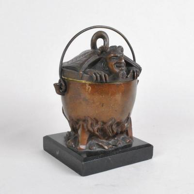 Devil's Pot In Bronze And Marble, Late XIXth Century