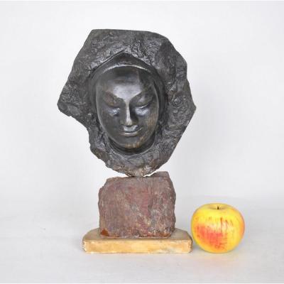 Bartellety, Visage Féminin En Pierre, Sculpture Signée, 20eme Siècle