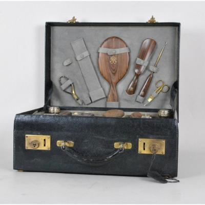 Toilet Case, Crystal And Silver, Monogrammed, 19th Century