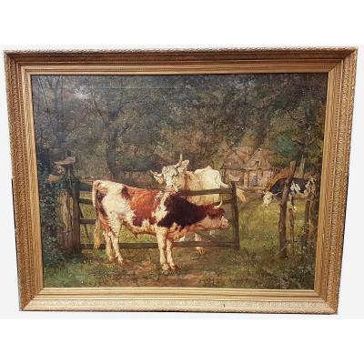 Grand tableau aux Vaches dans le pré, huile sur toile signée, fin XIXème siècle